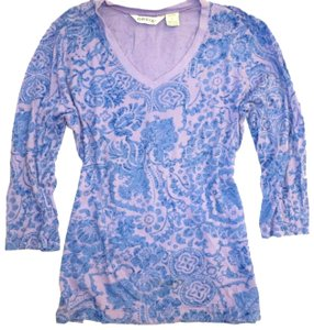 ORVIS Paisley Floral Cotton 3/4 Sleeve V-neck Sweater