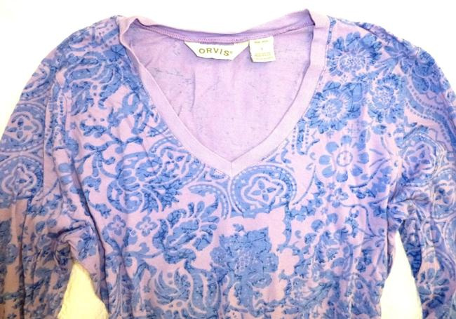 ORVIS Paisley Floral Cotton 3/4 Sleeve V-neck Sweater Image 1