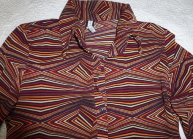 Forever 21 Retro Pullover Collar Long Sleeve Top Orange Red Image 1