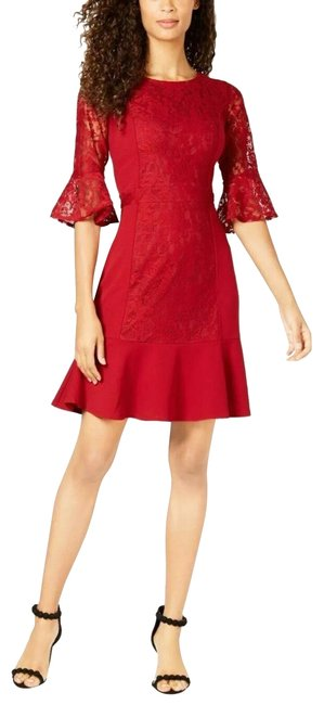 Preload https://img-static.tradesy.com/item/25500396/ny-collection-dark-red-lace-flounce-hem-short-workoffice-dress-size-petite-4-s-0-1-650-650.jpg