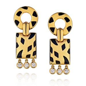 Cartier Diamond Panther Bombe Drop Clips With Omega Backs And Posts Dangle