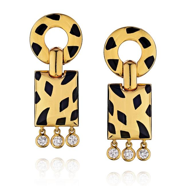 Item - Yellow Gold Spotted Panther Diamond Dangle Earrings