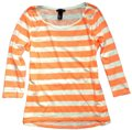 H&M Coral Striped 3/4 Sleeve Cotton Nautical T Shirt Orange Image 0