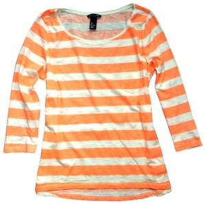 H&M Coral Striped 3/4 Sleeve Cotton Nautical T Shirt Orange