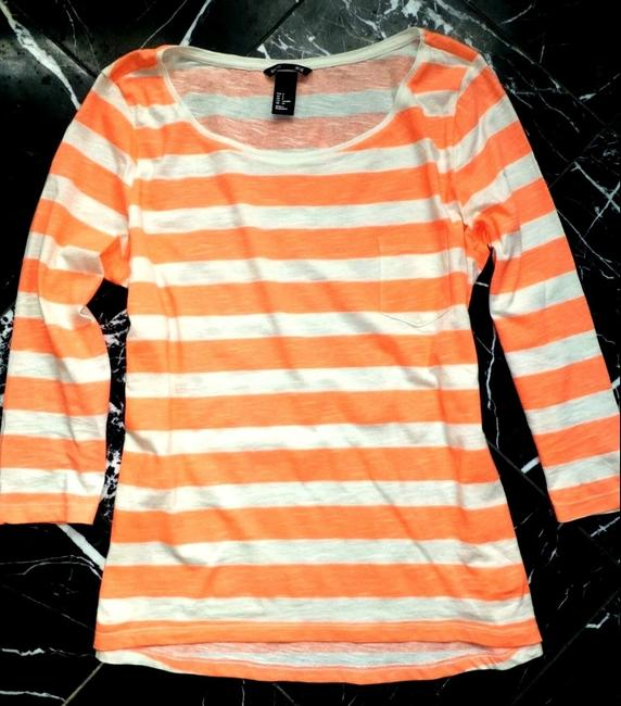 H&M Coral Striped 3/4 Sleeve Cotton Nautical T Shirt Orange Image 1