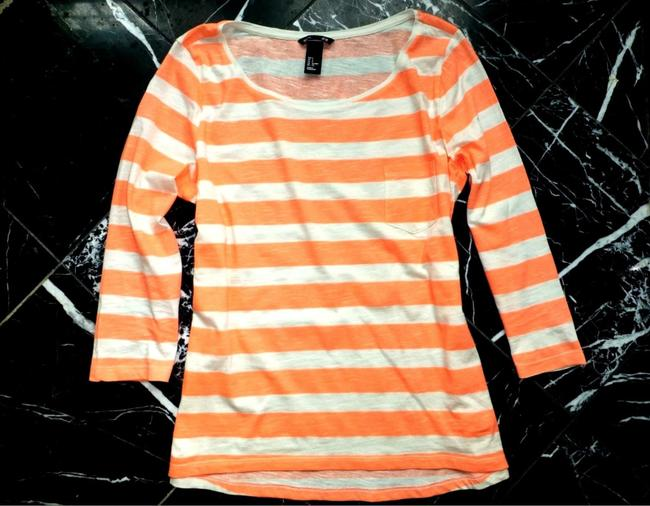 H&M Coral Striped 3/4 Sleeve Cotton Nautical T Shirt Orange Image 2