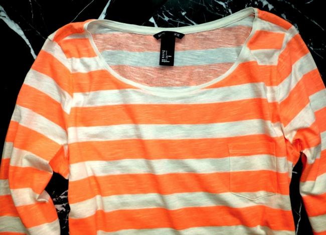 H&M Coral Striped 3/4 Sleeve Cotton Nautical T Shirt Orange Image 3