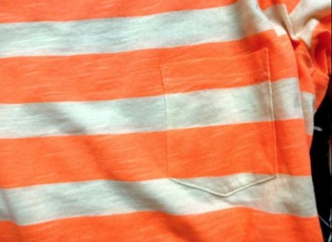 H&M Coral Striped 3/4 Sleeve Cotton Nautical T Shirt Orange Image 4