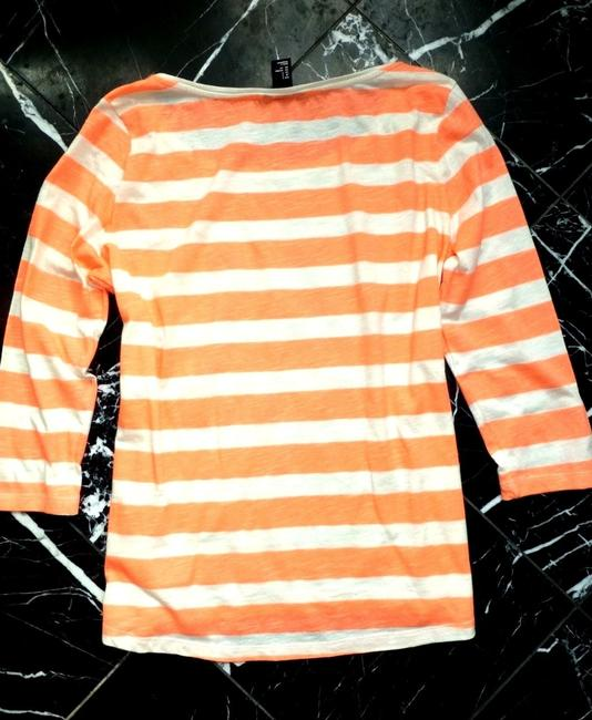 H&M Coral Striped 3/4 Sleeve Cotton Nautical T Shirt Orange Image 5