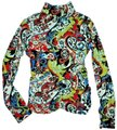 Etcetera Paisley Floral Rushed Back Zip Knit Sweater Image 0