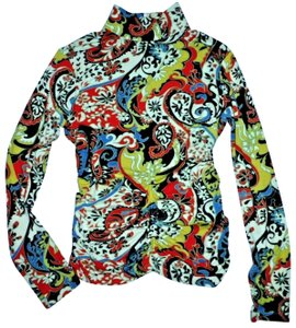 Etcetera Paisley Floral Rushed Back Zip Knit Sweater