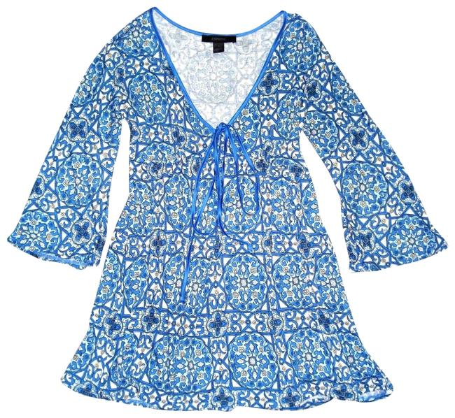 Express Paisley Medallions Bell Sleeve Empire Waist V-neck Top Blue Image 0
