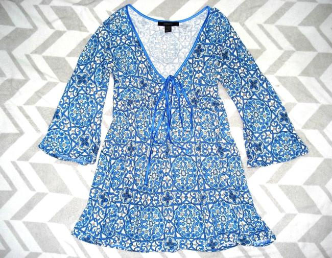 Express Paisley Medallions Bell Sleeve Empire Waist V-neck Top Blue Image 1