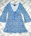 Express Paisley Medallions Bell Sleeve Empire Waist V-neck Top Blue Image 2