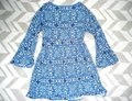 Express Paisley Medallions Bell Sleeve Empire Waist V-neck Top Blue Image 6