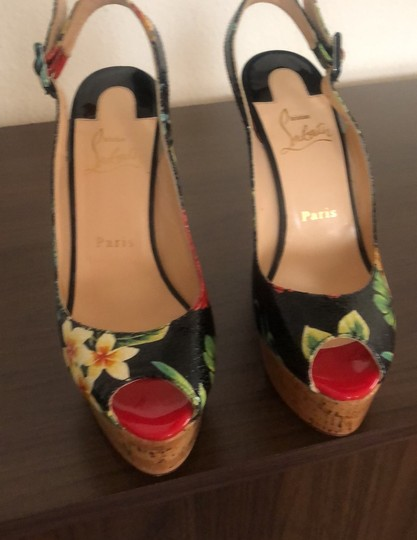 Christian Louboutin black n print flowers Wedges Image 6
