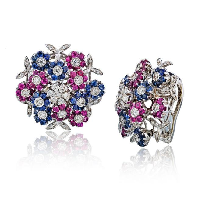 Item - Red and Blue Sapphire Ruby Diamond En Tremblant Clip On Earrings