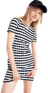 Madewell short dress Blue Ivory Nonwaisted Unlined Crew Neck Soft Comfy Short Sleeve on Tradesy