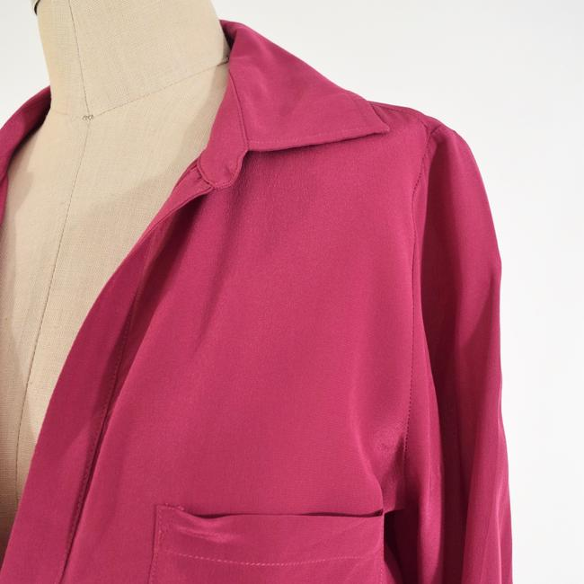Rory Beca Drapd Collared Crepe De Chine Top Pink Image 1
