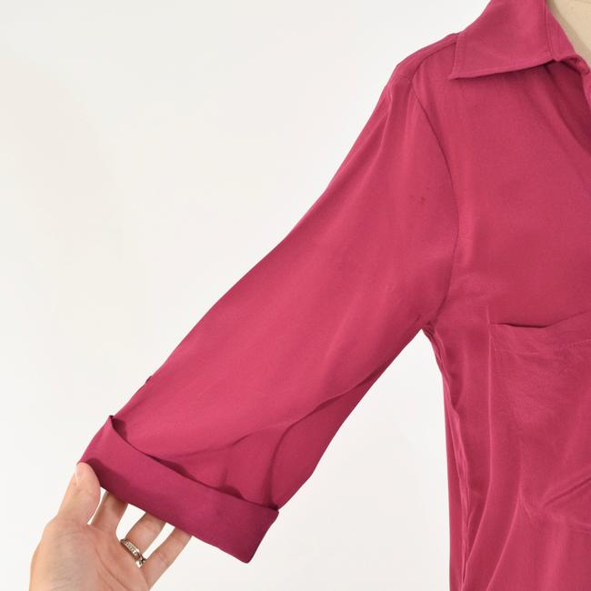 Rory Beca Drapd Collared Crepe De Chine Top Pink Image 2