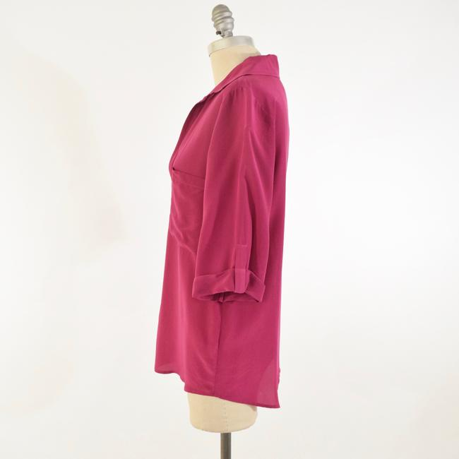 Rory Beca Drapd Collared Crepe De Chine Top Pink Image 3