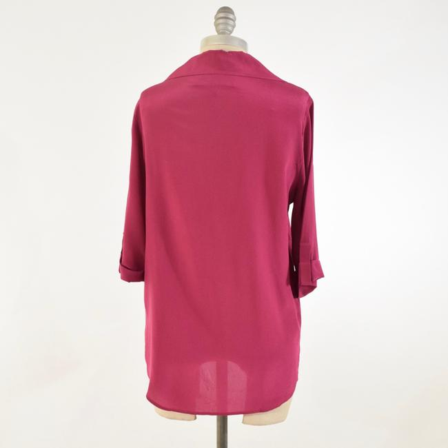 Rory Beca Drapd Collared Crepe De Chine Top Pink Image 4
