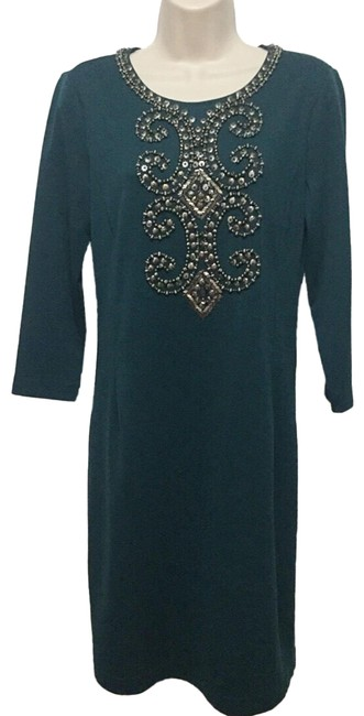 Preload https://img-static.tradesy.com/item/25500784/ellen-tracy-teal-studded-34-sleeve-sheath-mid-length-workoffice-dress-size-6-s-0-1-650-650.jpg
