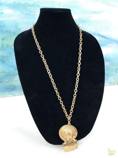 Chanel Chanel Gold Plated Hat & Handbag Charm Chain Necklace Long SALE! Image 1