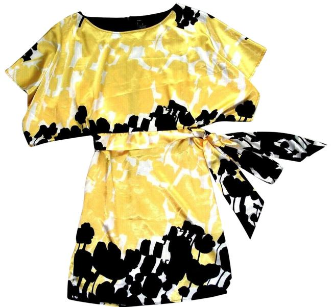 Item - Yellow Black Floral Bat Sleeve Belted Sash S Mid-length Night Out Dress Size 4 (S)