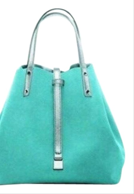 Item - Reversible And Metallic Silver/Tiffany Blue Leather/Suede Tote