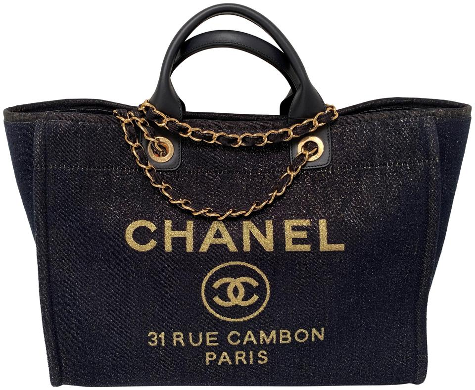 5c7e52a59c4 Chanel Deauville Bag Shimmer Large Shopper New 201 Navy Canvas Tote