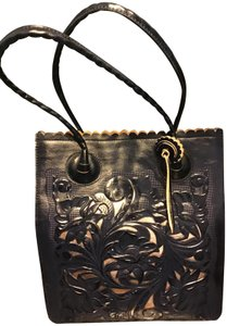 Patricia Nash Designs Nwtdb Leather Inside Pockets Dust Hand Tooled Cut Tote in Navy