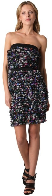 Item - Multicolor Lauriston Dark Crystal New Silk M Short Cocktail Dress Size 8 (M)