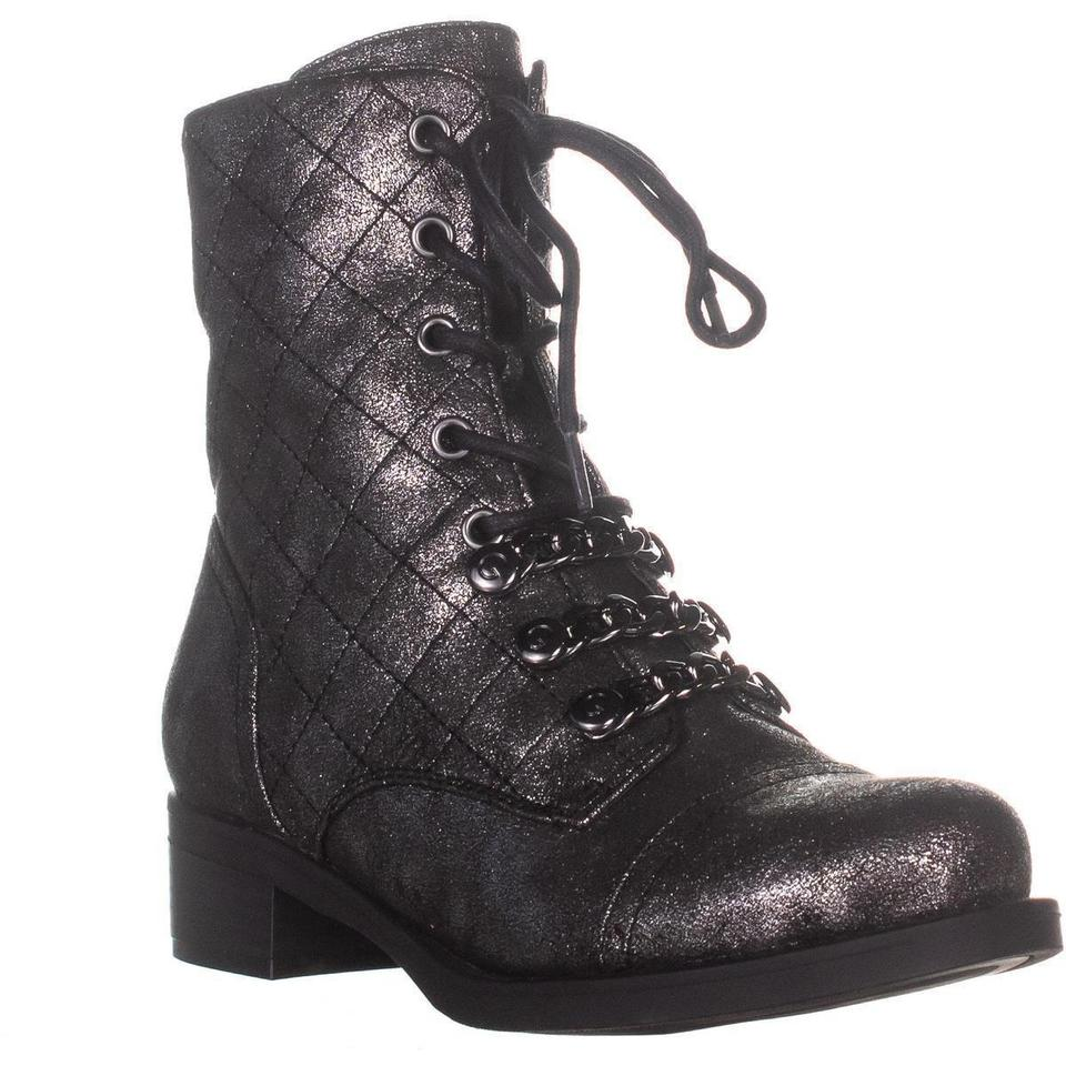 ac25396fdd751 Guess Silver G By Meera2 Combat Pewter Boots/Booties Size US 6.5 Regular  (M, B) 31% off retail
