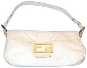 Fendi Mint Condition Limited Edition Accent Cotton/Yellow Rare Le Purse Satchel in white cotton with yellow python leather and yellow contrast stitching and chrome hardware