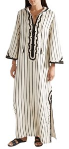 Tory Burch Savonna Striped Embroidered Canvas Hooded Caftan Coverup