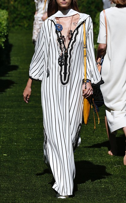 Tory Burch Savonna Striped Embroidered Canvas Hooded Caftan Coverup Image 1