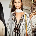 Tory Burch Savonna Striped Embroidered Canvas Hooded Caftan Coverup Image 2