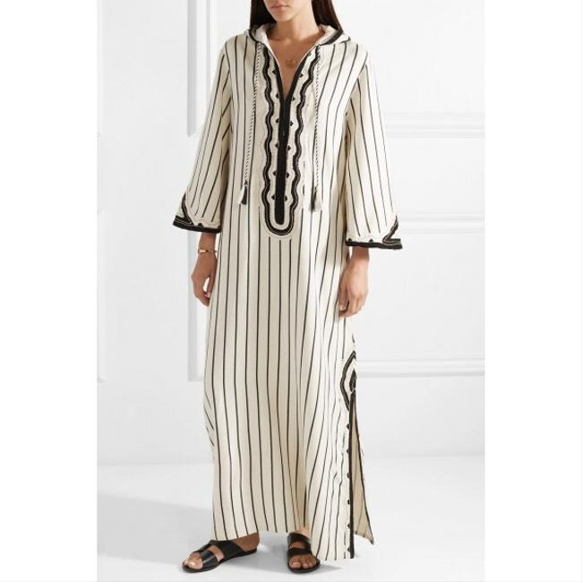 Tory Burch Savonna Striped Embroidered Canvas Hooded Caftan Coverup Image 4