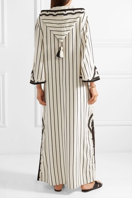 Tory Burch Savonna Striped Embroidered Canvas Hooded Caftan Coverup Image 5