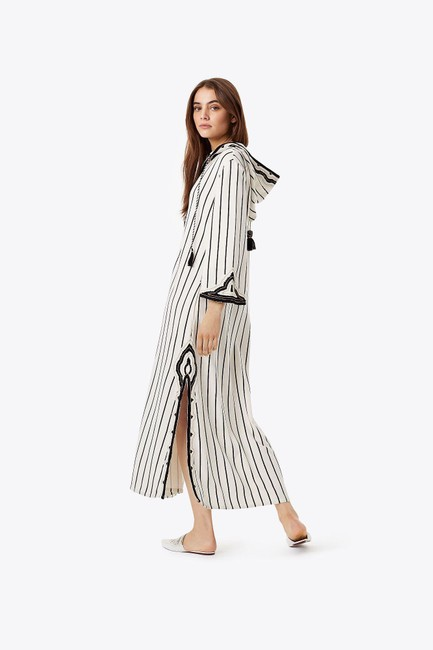Tory Burch Savonna Striped Embroidered Canvas Hooded Caftan Coverup Image 6