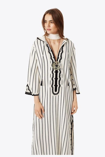 Tory Burch Savonna Striped Embroidered Canvas Hooded Caftan Coverup Image 8