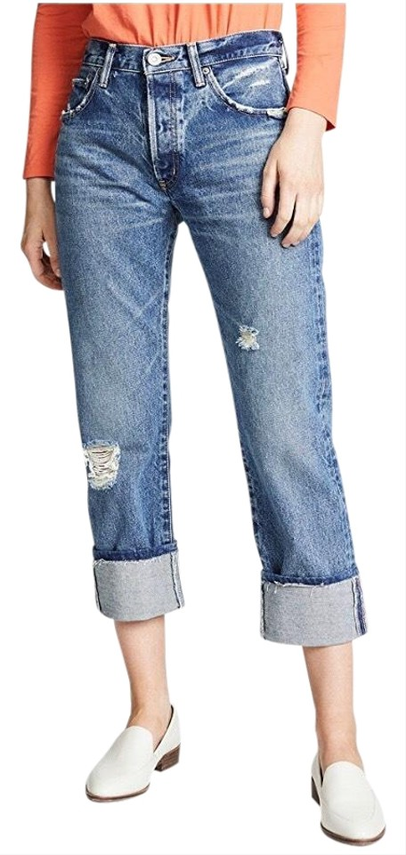 2bae580c369f7 MOUSSY Distressed Denim Vintage Celina Cropped Straight Leg Jeans Size 29  (6, M) 63% off retail