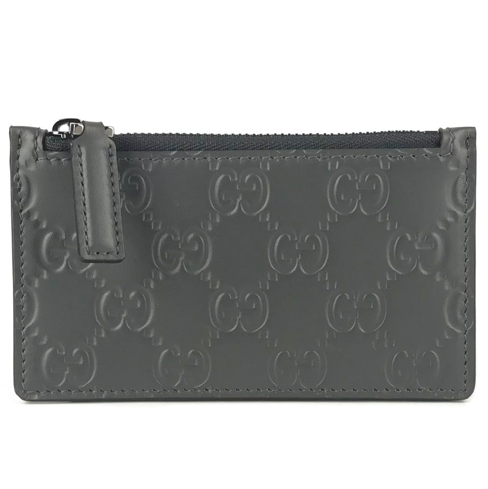 low priced 7b604 8755e Gucci Grey Gg Guccissima Leather Top Zip Slim Small Card Case Wallet 33%  off retail