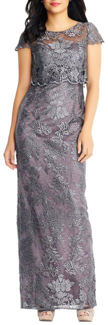 Adrianna Papell Grey Pop Over Embroidered Metallic Lace Gown Long Formal Dress Size 4 (S) Adrianna Papell Grey Pop Over Embroidered Metallic Lace Gown Long Formal Dress Size 4 (S) Image 1