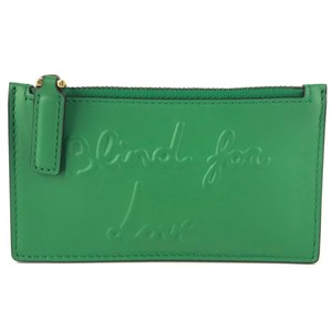 Gucci GUCCI L'Aveugle Par Amour Green Leather Top Zip Slim Small Card Wallet