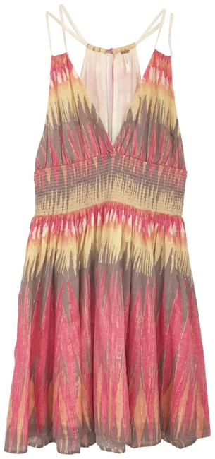 Item - Pink Yellow Gray Indian Summer Short Casual Dress Size 6 (S)