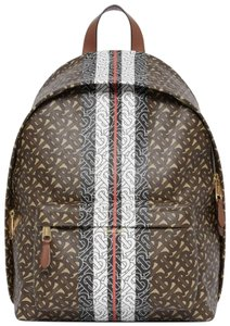 5bb6725f7 Burberry Monogram Stripe Print Bridle Brown Coated Canvas Backpack 40% off  retail