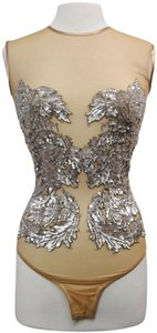 Amen Couture Embellished Beaded Bodysuit Mesh Top Beige
