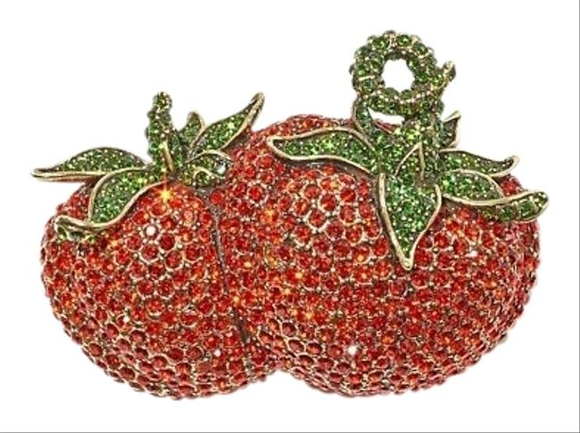 Item - Red Green Strawberry Tomato Brooch Pin